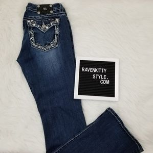 Miss Me Embroidered Bootcut Bling Denim Jeans 32